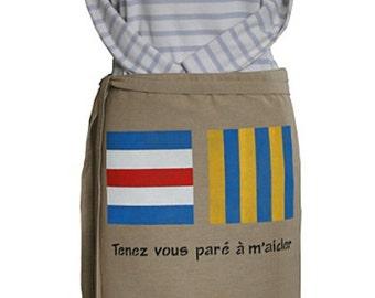 Marine beige canvas apron