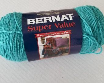 Yarn - Bernat Super Value Yarn, Craft Supplies, Knitting Supplies, Crochet Supplies, Aqua Yarn, Craft Yarn