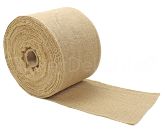 """50 Yards - 6"""" Premium Burlap Roll - Finished Edges - Eco-Friendly Natural Jute Burlap Fabric - For 6 Inch Table Runners & Rustic Decor"""