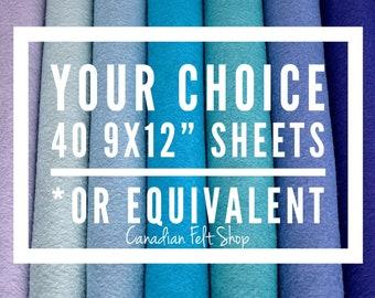 40 Wool Felt Sheets, Wool Blend Felt, Choose Your Own Colours, Wool Fabric, Nonwoven Fabric, Merino Wool, 9x12 Sheets, 12x18 Sheets