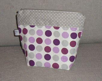 This pouch, cotton purple tones / gray