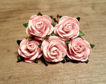 Light Pink Rose Hairpin, Wedding Hair Piece, Gift for Her, Flower Hair Pins, Christmas Gift, Hair Accessory