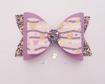 mini hearts hair bow