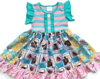 Moana Hawaii Disney Princess dress girls toddler birthday Disney vacation clothing Maui Aulani resort summer Momi boutique custom dress
