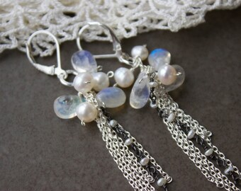 Long Moonstone Tassel Earrings , Sterling white gemstone briolette earrings, wedding, bridal jewelry, Pearls and Moonstone Romance