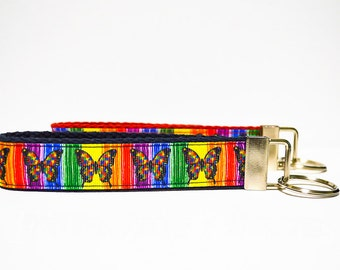 Monarch Butterfly Wristlet Keychain Rainbow Butterflies Keyfob Autism Awareness Butterfly LGBT Awareness Hippie Puzzle Pieces Colorful