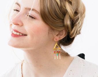 Triangle Chandeliers, Brass Triangle Earrings, White Fringe Earrings, Gold Beaded Tribal Earrings, Boho Fringe Earrings, White Bead Earrings