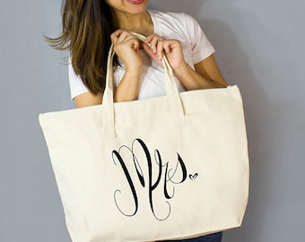 """Mrs. Large Zip Tote: 100% Natural Cotton Canvas 22""""W x 15""""L x 5""""D with Interior Zippered Pocket  and Bottom Gusset- By Alicia Cox/ Ellafly"""