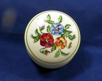 Vintage Partylite Trinket, Keepsake, Dresser Box-Pansey/Floral Decor-Excellent Condition