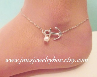 Little anchor anklet with freshwater pearl, Silver anchor anklet, Silver anchor ankle bracelet