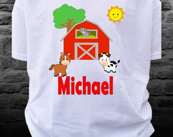 Custom Farm Animal and Red Barn Shirt with Red Personalized Name Horse Cow Sheep Cat Red Barn future Farmer - farm shirt- farmer shirt