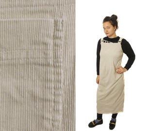 90s Corduroy overall, Vintage Corduroy sarafan, Beige dress, Long corduroy dress, Vintage Sarafan, Long cordroy sarafan women / Medium Large