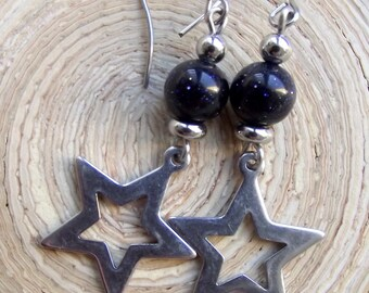 Earrings Star Blue River and stainless steel