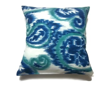 Decorative Pillow Cover Ikat Paisley Design Navy Blue Teal White Same Fabric Front/Back Toss Throw Accent 18 x 18 inch x