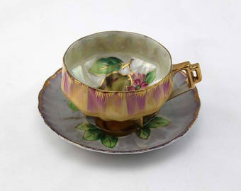 Vintage Lusterware Tea Cup and Saucer with Hand Painted Pear Design - Signed MG
