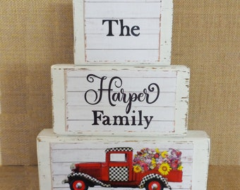 Personalized Farmhouse Decor Blocks with Red Vintage Flower Truck Shabby Chic