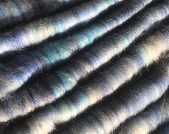 Hand dyed, hand blended Corriedale/merino/silk/angelina rolags - 'Iceni'