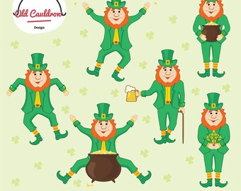 St. Patrick's Day clipart commercial use, leprechaun clipart, green clipart, clover clipart, vector clipart, vector graphics CL036