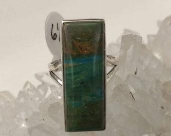 Genuine Peruvian Blue Opal  Ring, Size 6 1/2