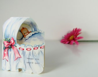 """Vintage """"thank you for baby's gift"""" card"""
