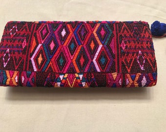 Modern clutch with huipil in rich colors