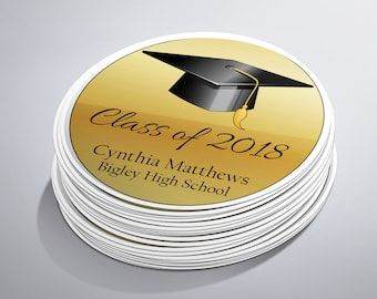 Class of 2018, Graduation Stickers, Party Favor Labels, Graduation Party Favors