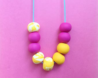 Clay bead necklace, statement necklace, pink necklace, yellow necklace, bright necklace, chunky necklace, vegan jewellery, quirky necklace