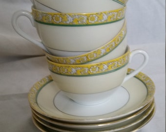 Vintage Noritake Teacups and Saucers with Floral Pattern, Hand Painted, Set of 4