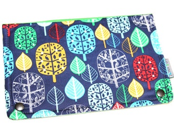 Companion / portfolio - all in 1 - fabric cotton tree/leaf/floral motives * green & blue - mother's day gift