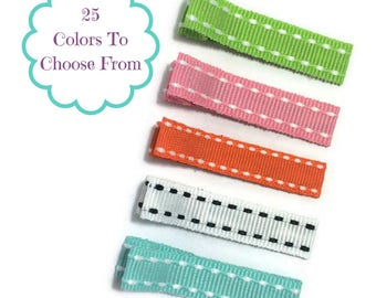 25 Stitch Lined Alligator Clips, 45mm, No Slip Hair Clips, Lined Hair Clips, Fully, Partially Lined, Double, Single Prong, Ribbon Covered