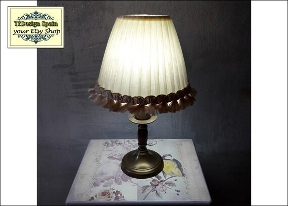 Lámpara pequeña 29 cm, Lampara mesita estilo vintage, Lampara beige, Lámpara mesita noche, Làmpara pequeña vintage, Làmpara rustica pequeña