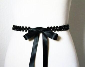 Skinny Black Sash Belt Bridal Sash Belt Wedding Sash Belt Beaded Sash Belt - Wedding Bridal Bridesmaid Flower Girl Sashes Belts