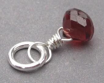 Petite Garnet Birthstone Charm,  Garnet Sterling Silver Wire Wrapped Pendant, Garnet Necklace Charm, January Birthstone Charm, Stones 12