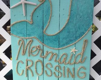 Handmade Mermaid Crossing with Rope Beach Pallet Art
