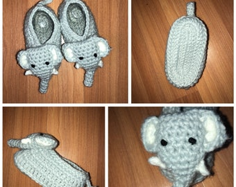 Baby elephant slippers, knit elephant slippers, baby elephant