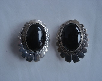 Mexican Jewelry Clip Earrings Black Onyx Sterling Silver Signed LO 02935