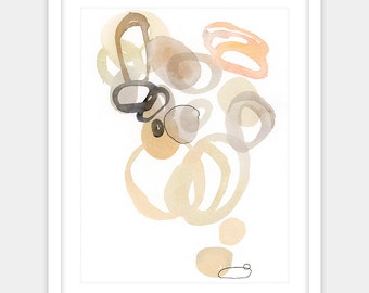 Digital print of abstract watercolor cells, modern home decor in pink and gold grey neutrals