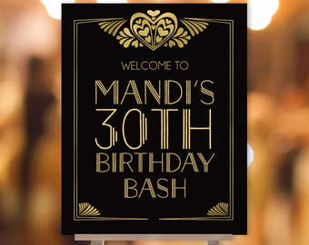 Great Gatsby Birthday Welcome Sign / Art Deco, Roaring Twenties, 1920s / Black and Gold ▷ Printable File {or} Printed & Shipped
