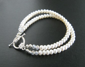 Dainty Two Strand White Freshwater Pearl Bracelet White Pearl Bridal Bracelet Bridal Jewelry