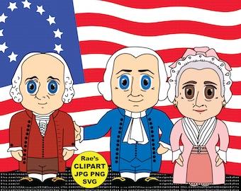President George Washington Clipart Set with John Adams and Martha Washington