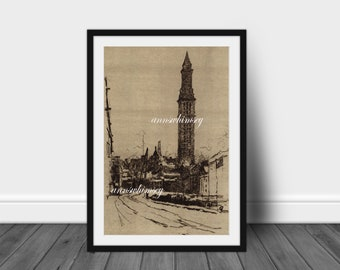 Impression d'Art Boston, Art salle familiale, bureau Art, vieux Boston Art Print, Boston Skyline Art, restauré Antique #80 livraison gratuite