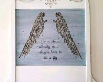 Inspirational Wall Hanging/Sign /Angel Wings/Graduation