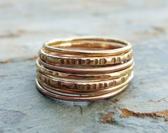 Stacking Wedding Rings Set, Seven Solid 14k Rose and Yellow Gold Stacking Rings in Mixed Textures - Textured Skinny Gold Stacking Bands
