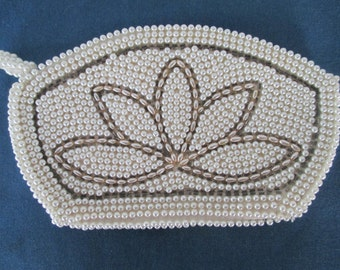 Vintage Beaded Clutch Lotus Flower White And Silver Beaded Pull Vintage Handbags Bags Purses Evening Bag Women Accessories