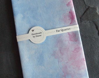 Blue Purple Watercolour Effect Fat Quarter - Cloudy Sky, Cobalt Cerulean, Lapis, Frosted Ice, Sky Blue, Violet, Iodine, Pink Purple Hue,3659