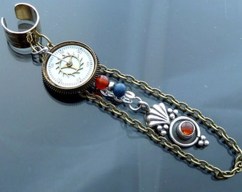 When Seconds Count Ear Cuff or Necklace Sterling silver pendulum orange carnelian blue lapis steampunk old watch parts dial OOAK jewelry