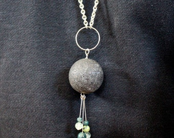 Lava bead pendant statement necklace with jade drops, inspired by Iceland