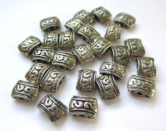 Antiqued Silver Beads. 3 Hole Spacers. 10mm x 7mm MultiStrand Separator Beads. Puffed Rectangle Beads. Tribal Style Ethnic Beads - 12 Pieces
