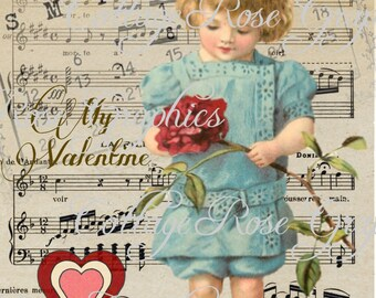 Valentine February 14 series Blue Dress  vintage shabby cottage Large digital download ECS buy 3 get one free