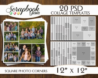"""TWENTY (20) 12"""" x 12"""" Digital Photo Collages / Storyboard Templates, PSD Format, Photo Scrapbook Template Collage"""